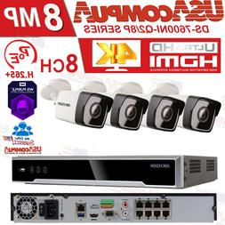 HIKVISION 8CH SECURITY SYSTEM  8 CHANNEL 4 CAMERAS POE 4MP 2