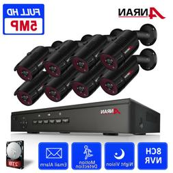 ANRAN 5.0MP CCTV PoE Security Camera System Outdoor Wired wi