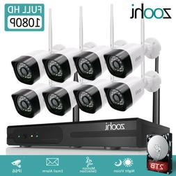 Zoohi Outdoor Security Camera System Wireless WIFI 1080P Hom